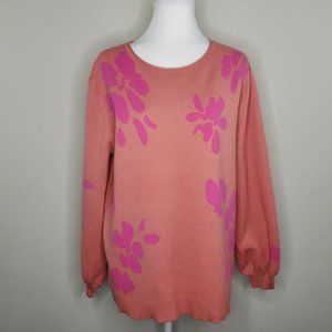 14th & Union Floral Jacquard Knit Pullover Sweater